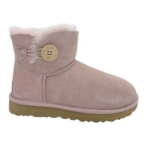 UGG BAILEY BUTTON II PINK CRYSTAL SUEDE SHEEPSKIN WOMEN'S BOOTS US SIZE 7