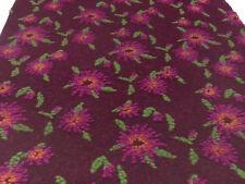 Stoff Ital. Musterwalk Kochwolle Walk Relief Blumen bordeaux pink grün orange