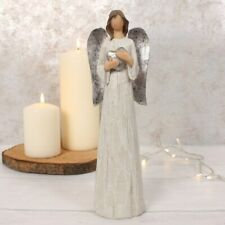 Evangeline Large White Silver Glitter Angel Ornament Shrine Altar Prayer Gift