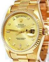 Rolex Day-Date President 18k Yellow Gold Diamond Dial Mens Watch 18238