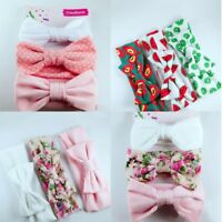 3Pcs New Baby Headband Cotton Elastic Baby Print Floral Hair Band Bow-knot