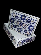 "6""x4""x2"" Marble Jewelry Storage Box Marquetry Lapis Floral Inlay Work Home Decor"