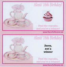 Tea Party personalized party favors scratch-off game