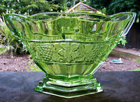 LOVELY ART DECO URANIUM GREEN GLASS FOOTED VASE 1930'S