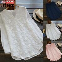 Women's Long Sleeve Tunic Tops Ladies V Neck Cotton Linen Plain T-Shirt Blouse