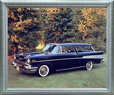 1957 Chevy Nomad Bel Air Vintage Car Wall Decor Silver Framed Art Print Picture