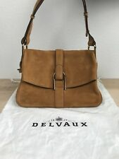 100% Authentic NWT Delvaux Givry Suede Shoulder Bag in Camel $3200