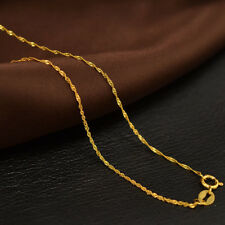 Real Solid 18K Yellow Gold Necklace Luck Tiny Singapore Link Chain 1.2mm 16''