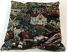"Vintage 15"" French Countryside Sheep Windmill Brick Farmhouse Throw Pillow"