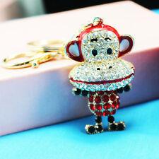 Monkey Keychain Rhinestone Crystal Keyring Key Ring Chain Bag Charm Pendant Gift