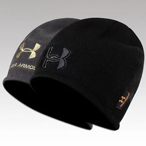 Men's Under Armour Hat 2Colors Reversal Beanie Warm Knit Hat - Black/Grey