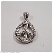 925 Sterling Silver & Pave Set Cubic Zirconia CZ Pear Peace CND Pendant Charm