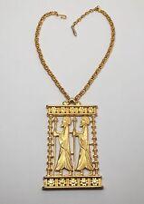 RARE Statement Large Vendome Greco Roman Gold Tone Pendant Necklace