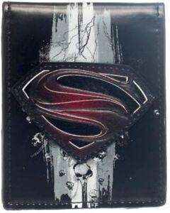 NEW BIOWORLD Superman Man of Steel Emblem Logo Vegan Bi-fold Wallet Licensed