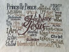 finished completed cross stitch unframed His name is Jesus