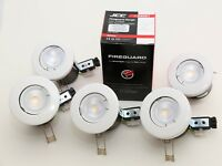 5 x Fire Rated White WITH GU10 WHITE DIMMABLE LED Bulb Downlights JCC £19.95