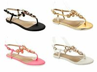 WOMENS GEM DIAMANTE TOE POST SUMMER HOLIDAY BEACH SANDALS LADIES UK SIZE 3-8
