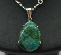 """Fine Pear Turquoise Gem Pendant Sterling Silver 925 Necklace 6g 18"""" HE100"""