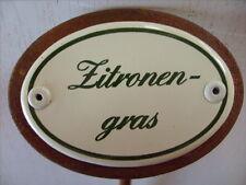 Kräuterschild Kräuterstecker Pflanzschild Emaille Emailschild Zitronengras 25cm