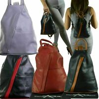Womens Leather Backpack Anti-Theft Rucksack Bag Soft Italian Leather, 30 Colours