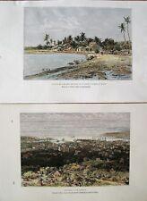 2 Antique Prints: Hawaii: Kauai: Wood Engravings by E. Reclus: Paris, 1885