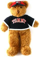 "Tommy Hilfiger Brown Teddy Bear Stuffed Plush 16"" Red Hat Blue Sweater Vintage"