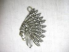 NEW USA CAST PEWTER INDIAN CHIEF PROFILE BUST PENDANT ADJ STRING CORD NECKLACE