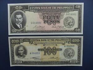 2No. 1949 PHILIPPINES 50 & 100 PESOS BANKNOTES FRESH ORIGINAL aUNC/UNC