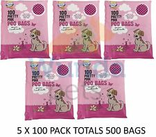 5 X 100 PK GOODBOY DOG PUPPY PRETTY PINK SCENTED DOG POO WASTE BAGS WITH HANDLES