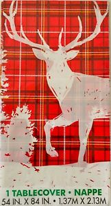 Christmas Tablecloth Table Decoration Festive Xmas Wipe Clean Cover Reindeer