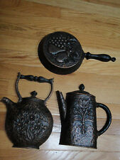 Home Interior set of 3 piece copper tone burwood Tea pot, Coffe pot and Fry pan