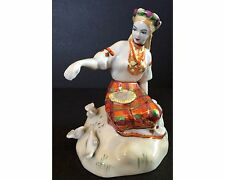 Vintage 50's Baranovka USSR Rusian Girl Feeding Birds Porcelain Figurine