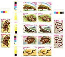 NICARAGUA - REPTILES - IMPERF COMPLETE SET IN PAIRS - Sc 1195/7 - C1054/7 - 1982