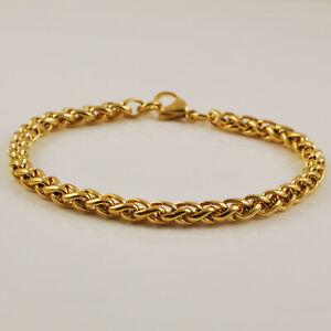 "9ct Yellow Gold Plated Wheat Braid Link 8"" Bracelet - Mens Ladies UK Seller"