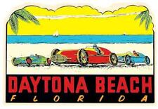 Daytona Beach Florida Races  Vintage  1950's Style  Travel Decal  Sticker Nascar