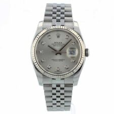 ROLEX DATEJUST 36MM 116234 SILVER DIAMOND DIAL BOX/PAPERS/1 YEAR WARRANTY 2014