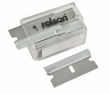ROLSON 10PC RAZOR BLADES - CARBON STEEL - SAFETY DISPENSER - FITS MOST SCRAPERS