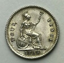 Dated : 1838 - Silver Coin - Fourpence - 4d Coin - Queen Victoria