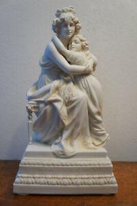 Alte Scheibe Alsbach Bisquit Porzellan Figur Madamme Lebrun et sa Fille um 1920