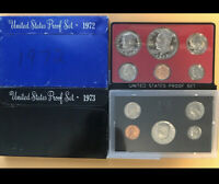 Lot1354 2 PROOF sets 1972 1973 IKE Dollar in set