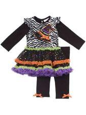 BABY GIRL HALLOWEEN TUTU DRESS LEGGINGS RARE EDITIONS WITCH HAT STAR 3-6 NWT