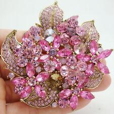 Fashion Flower Cluster Floral Leaf Pendant Pink Rhinestone Crystal Brooch Pin