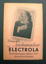 """ELECTROLA Neuerscheinungen Oktober 1940  """"Margarete Teschemacher"""""""