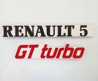 ⭐🇫🇷 NEUF KIT 2 MONOGRAMMES RENAULT 5 GT TURBO BLANC R5 GTTURBO BADGE SUPER 5