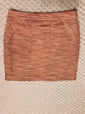 Ann Taylor Loft Career Skirt Size 0 Orange White Peach Coral Lined Pockets Mini