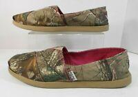 Womens BOBS Skechers Comfort Flats Sz 10 Textile Green Camo Upper w/Pink Trim #N