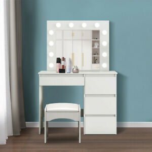 Modern Dressing Table Vanity Makeup Desk with Hollywood LED Mirror And Drawers