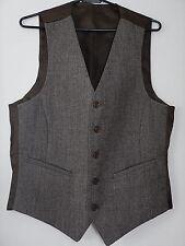 Vintage Mens Blended Brown Quality Wool Indie Mod Waistcoat Vest Size 34 XS