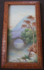 VINTAGE, POSSIBLY ANTIQUE? HAND PAINTED CERAMIC TILES - BRIDGE & MOUNTAIN SCENE