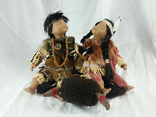 "9"" Pocelain Native America Indian Couple Dolls"